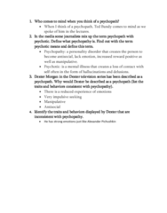 PSYC 2400 Lecture Notes - Lecture 10: Psychopathy, Dexter Morgan