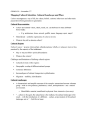 GEOG 1020 Lecture Notes - Lecture 9: Cultural Area, Cultural Landscape, Nature Reserve