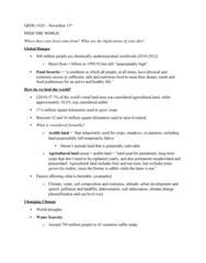 GEOG 1020 Lecture Notes - Lecture 7: World Food Day, Climate Change Scenario, Arable Land
