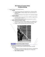 PSYB57H3 Lecture Notes - Lecture 12: Critical Thinking, Solution Set, Memory Consolidation