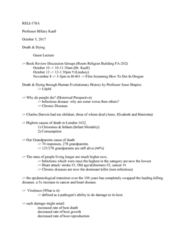 RELI 378 Lecture Notes - Lecture 3: Symbiosis, Epidemiological Transition, Myocardial Infarction