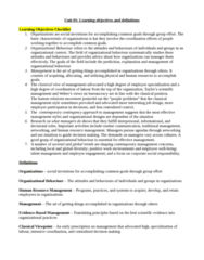 HROB 2090 Chapter Notes - Chapter 1: Hawthorne Effect, Ideal Type, Corporate Social Responsibility