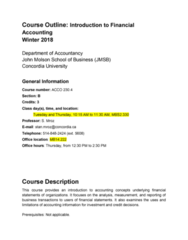 ACCO 230 Lecture Notes - Lecture 1: John Molson, Rhode Island Route 12, John Molson School Of Business