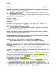 STAB23H3 Lecture Notes - Lecture 1: Statistical Parameter, General Social Survey, Stomach Cancer