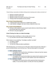 SSH 105 Lecture Notes - Lecture 1: Critical Thinking, Moral Relativism, Broccoli