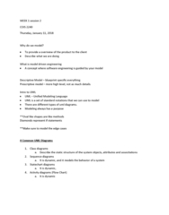 COIS 2240H Lecture Notes - Lecture 1: Model-Driven Engineering, Unified Modeling Language, State Diagram