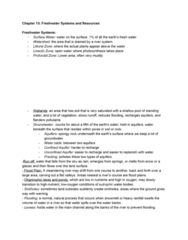 EES 1080 Chapter Notes - Chapter 15: Xeriscaping, Typhoid Fever, Water Cycle