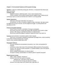 EES 1080 Chapter Notes - Chapter 5: Landscape Ecology, Nitrogen Cycle, Ecosystem Model