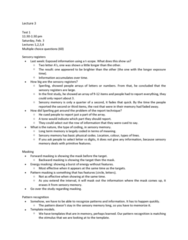 PSYC 2700 Lecture Notes - Lecture 3: Mental Event, Simple Cell, Agnosia