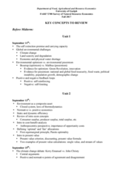 FARE 2700 Final: Key Concepts to Review for Final