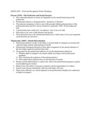 SOCIOL 3U03 Lecture 8: SOCIO 2SS3—Work and Occupations Week 4 Readings