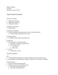 COIS 2300H Lecture Notes - Lecture 4: Coprocessor, Ieee Floating Point, Scientific Notation