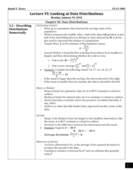 STAT 3005 Lecture Notes - Lecture 3: Robust Statistics, Interquartile Range, Variance