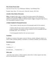 ENG1100 Final: Exam Notes for Essay (MLA format, Rhetoric notes...) ENG1100