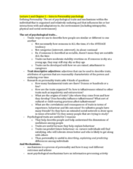 PSYC 2740 Lecture Notes - Lecture 1: Personality Psychology, Extraversion And Introversion, Heredity