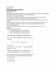 STAT 2507 Lecture Notes - Lecture 5: Bernoulli Trial, Sample Space, Random Variable