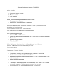 PSYC 3140 Lecture Notes - Lecture 5: Generalized Anxiety Disorder, Panic Disorder, Frontal Lobe