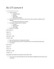 BU275 Lecture 4: BU-275 Lecture 4