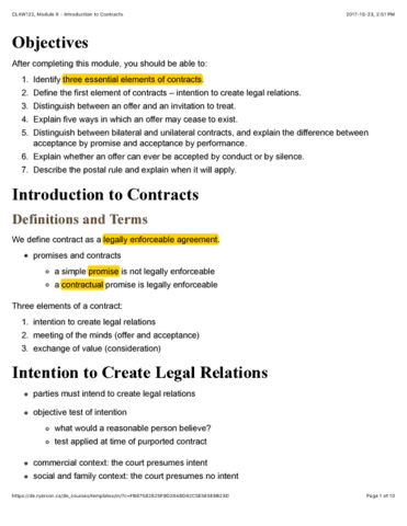 Law 122 Lecture 6 Claw122 Module 6 Introduction To Contracts