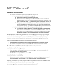AGR 2050 Lecture Notes - Lecture 6: Ecosystem Services, Precision Agriculture, Carbon Footprint