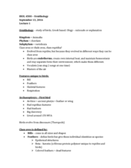 BIOL 4500 Lecture Notes - Lecture 1: Pennaceous Feather, Rachis, Scleroprotein