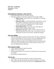 BIOL 4500 Lecture Notes - Lecture 3: Caspian Tern, Rib Cage, Elliptical Wing