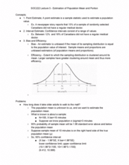 SOC222H5 Lecture Notes - Lecture 5: Confidence Interval, Point Estimation, Bias Of An Estimator