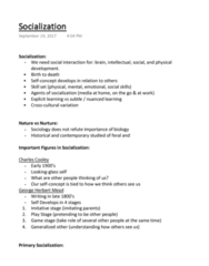 SOCIOL 1C03 Lecture Notes - Lecture 2: George Herbert Mead, Skill