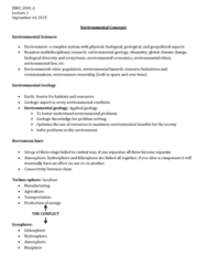 ENSC 2001 Lecture Notes - Lecture 1: Environmental Geology, Environmental Ethics, Hydrosphere