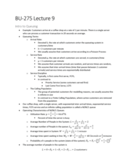 BU275 Lecture Notes - Lecture 9: Probability Density Function, Exponential Distribution