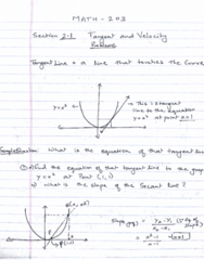 MATH 203 Lecture 2: Tangent and Velocity Problems