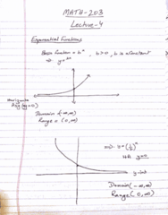 MATH 203 Lecture 4: Exponential Functions