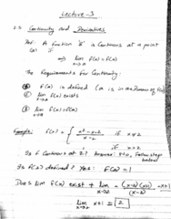 MATH 203 Lecture 3: Continuity and Derivatives