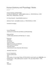 KINESIOL 1A03 Final: Kinesiology 1A03 Full Notes - Spring 2016