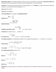 STAT 2050 Study Guide - Midterm Guide: Type I And Type Ii Errors, Pooled Variance, Confidence Interval