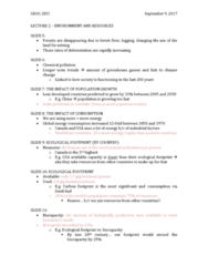 GEOG 2EI3 Lecture Notes - Lecture 2: Ecological Footprint, Carbon Footprint, Biocapacity