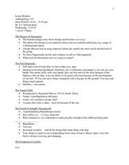 ANT 101 Lecture Notes - Lecture 8: Taung Child, Stutz Motor Company, Australopithecus