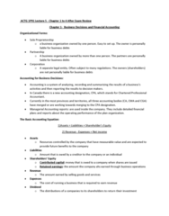 ACTG 1P91 Lecture Notes - Lecture 5: Chartered Professional Accountant, Legal Personality, Sole Proprietorship