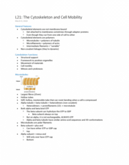 BIOL 2020 Lecture Notes - Lecture 21: Tubulin, Microtubule, Cytoskeleton