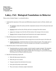 PSYC 101 Lecture 3: Study Guide-Ch3BiologicalFoundationsInBehavior