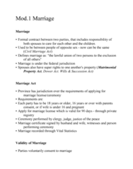 LEGL-280 Lecture Notes - Lecture 1: Marriage Certificate, Civil Marriage Act