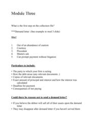 LEGL-260 Lecture Notes - Lecture 3: Demand Letter