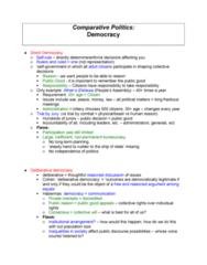 Political Science 1020E Quiz: Comparative Politics- Democracy