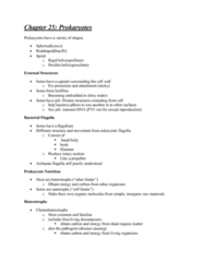 BIOL 112 Chapter Notes - Chapter 25: Thermophile, Chromosome, Aerobic Organism
