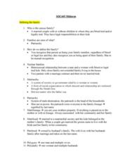 SOC 605 Study Guide - Midterm Guide: Premarital Sex, Engagement, Structural Functionalism