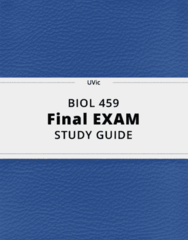 BIOL 459- Final Exam Guide - Comprehensive Notes for the exam ( 27 pages long!)