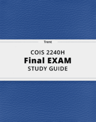COIS 2240H- Final Exam Guide - Comprehensive Notes for the exam ( 34 pages long!)