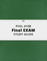 PHSL 410B- Final Exam Guide - Comprehensive Notes for the exam ( 35 pages long!)