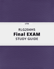 RLG204H5- Final Exam Guide - Comprehensive Notes for the exam ( 60 pages long!)