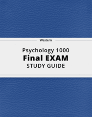 Psychology 1000- Final Exam Guide - Comprehensive Notes for the exam ( 195 pages long!)